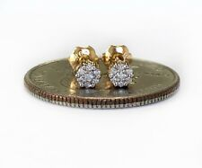 14k Solid Yellow Gold Natural Diamond Flower Cluster Stud Earrings 4 MM Unisex