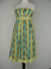 MONSOON Size 12 Bright Pattern Fully Lined Cotton Strapless Sun Dress