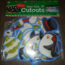 Amscan Christmas Cutout Decorations (x12) - Santa / Snowman / Tree / Penguin NEW