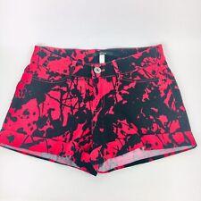 Kensie Roll Cuff Denim Tie Dye Red and Black Shorts - Stretch - Womens Size 4