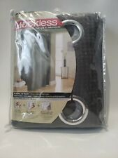 "Hookless! Graphite Gray Waffle Fabric Shower Curtain With Liner 71""x74"""