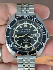 Vintage '68 Citizen Seven Star 100M Diver's JDM Watch, Para Water, Works