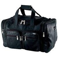 "Embassy Large 19"" Genuine Buffalo Leather Tote Bag Carry on Luggage Black Bag"