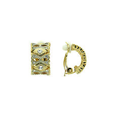 STUNNING 18K YELLOW GOLD PLATED GENUINE AUSTRIAN CRYSTAL CLIP-ON EARRINGS