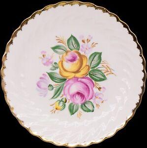 """Royal China Warranted 22 Kt Gold Quban Royal Floral Plate 10-1/4"""""""