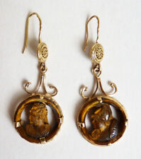 Boucles d'oreille en OR massif + oeil de tigre 19e gold earrings deesse greque