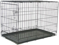 """Extra Large 48"""" Wire Folding Pet Dog Cat Black Cage Kennel With Plastic Pan 803"""
