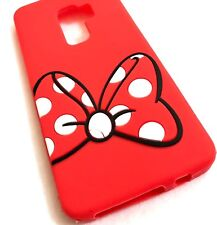 For Samsung Galaxy S9+ Plus - SOFT RUBBER SILICONE CASE RED MINNIE POLKA DOT BOW