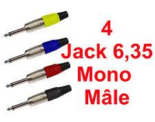 4 Fiches Jack 6,35 Mono Mâle Livré en 4 Couleurs Connections à Souder