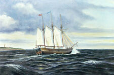 Wonderful Oil painting big sail boats on ocean in sunny day free shipping