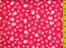 1/2 yard FLANNEL White Flowers on Deep Hot Pink BTHY