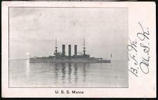 USS MAINE Battleship Warship Antique 1907 B&W Postcard Vtg Old UDB Military PC