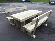 PREMIUM SANDED  Wooden Sleeper Outside Table And Benches /Garden Furniture