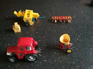 Britains Vintage Massey Ferguson Tractor, Bamfords Baler, Cultivator, Spreader