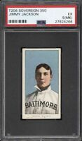 Rare 1909-11 T206 Jimmy Jackson Sovereign 350 Baltimore PSA 5 (MK) EX 1 Higher