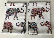 Deborah Connolly dc Set Of 2 Elephant Paisley Velour Hand Towels White New Nwot