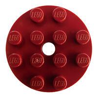 Lego 10 Stück Platte rund mit Loch 4x4 in dunkelrot (dark red) 60474 Neu Basics