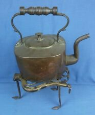 Vintage Copper and Brass Kettle With Brass and Iron Lyre  Trivet Kitchenalia