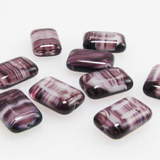 7 edle Perlen Glasperlen Rechteck grau-blau 12x8mm Künstlerperlen zum Basteln