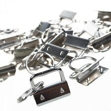 25 Pcs Sets 1 Inch Nickel Plated Key Fob Hardware Wristlet Sets with Key Rings