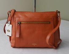 Fossil Vickery Monarch Orange Leather Top Zip Crossbody Bag Purse