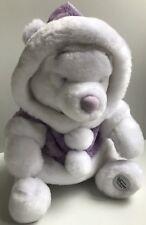Disney Store Plush Snowball White Purple Winnie the Pooh Bear Winter Stuffed EUC