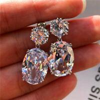 Gorgeous Stud Dangle Earrings Women 925Silver White Topaz Wedding Party Jewelry