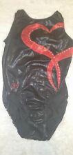 GK ELITE Red Black Bejeweled Heart Diamond Medium Leotard EUC
