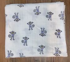 ADEN + ANAIS White Blue Monkey Baby Blanket Jungle Jam Cotton Muslin Swaddle