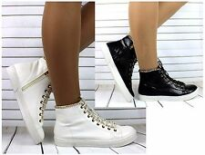 WOMENS WHITE BLACK GOLD CHAIN HI TOP TRAINERS FASHION FLAT SNEAKERS CASUAL SHOES