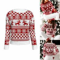 Women Christmas Snowflake Sweater Jumper Ladies Xmas Long Sleeve Pullover Tops
