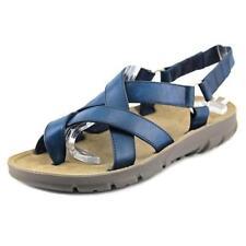 Sandalias y chanclas de mujer de tacón bajo (menos de 2,5 cm) de color principal azul sintético