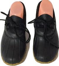 L.L. Bean Women Rubber Moc Duck Boots Size 8 N Black Leather Low Waterproof