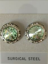CHRYSOLITE PIERCED EARRINGS go with horse show number magnets Swarovski Crystals