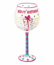 NEW Happy Birthday Hand Painted Embellished Rhinestones Wine Glass 16oz