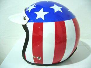 Vintage Vespa Scooter Motor Captain America USA flag open face Helmet