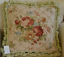 "18"" French Country Style Handmade PetitPoint Needlepoint Pillow w/Tassel WM-9"