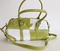 NYC faux crocodile checkered handbag shoulder bag zip closure unique green white