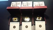 Canada Wildlife Conservation Series $3 Gold Plated Sterling Silver Square Coins