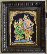 Radha krishna Tanjore Painting -Framed Art- 24Karat Gold foil and glass stones