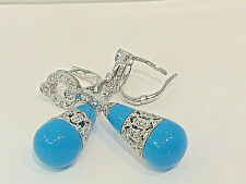 18K.White Gold Diamond Dangling Earing with Natural Blue Turquoise.ITALY.