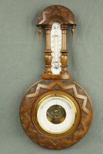 CHARITIUS Weimar schöner antiker Barometer Holz Thermometer Porzellan Art Deco
