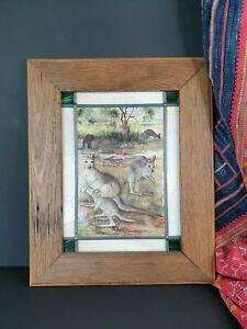 Old Australiana Kangaroo Bush Friends Framed Print on Tile …beautiful collection