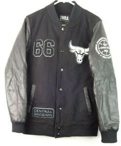 Chicago Bulls NBA Basketball Letterman Varsity Jacket 66 Central Mens Size M