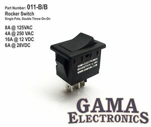 Mini 10 Amp Rocker Switch Single Pole Double Throw SPDT On-On - 011-B/B
