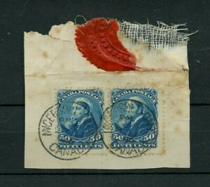 PAIR of 50c Widow Weeds tied to piece, with Bank Wax Seal 1896, cover Canada