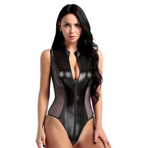 Leather Catsuit Bodysuit Women Mockneck Shiny Lingerie Jumpsuit Clubwear Leotard