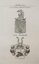 1847 Wappen Freiherren von Sainte Marie-Eglise von Sandizell Kupfer Coat of Arms
