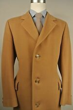 1970's Barrister Solid Tan Cashmere/Wool Blend Three Button Overcoat Size: 40