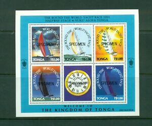 Tonga #775  (1993 Yacht Race sheet) overprinted SPECIMEN VFMNH CV $11